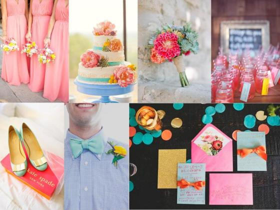 Inspiration Board #8- Turquoise, Pink, and Gold (1)